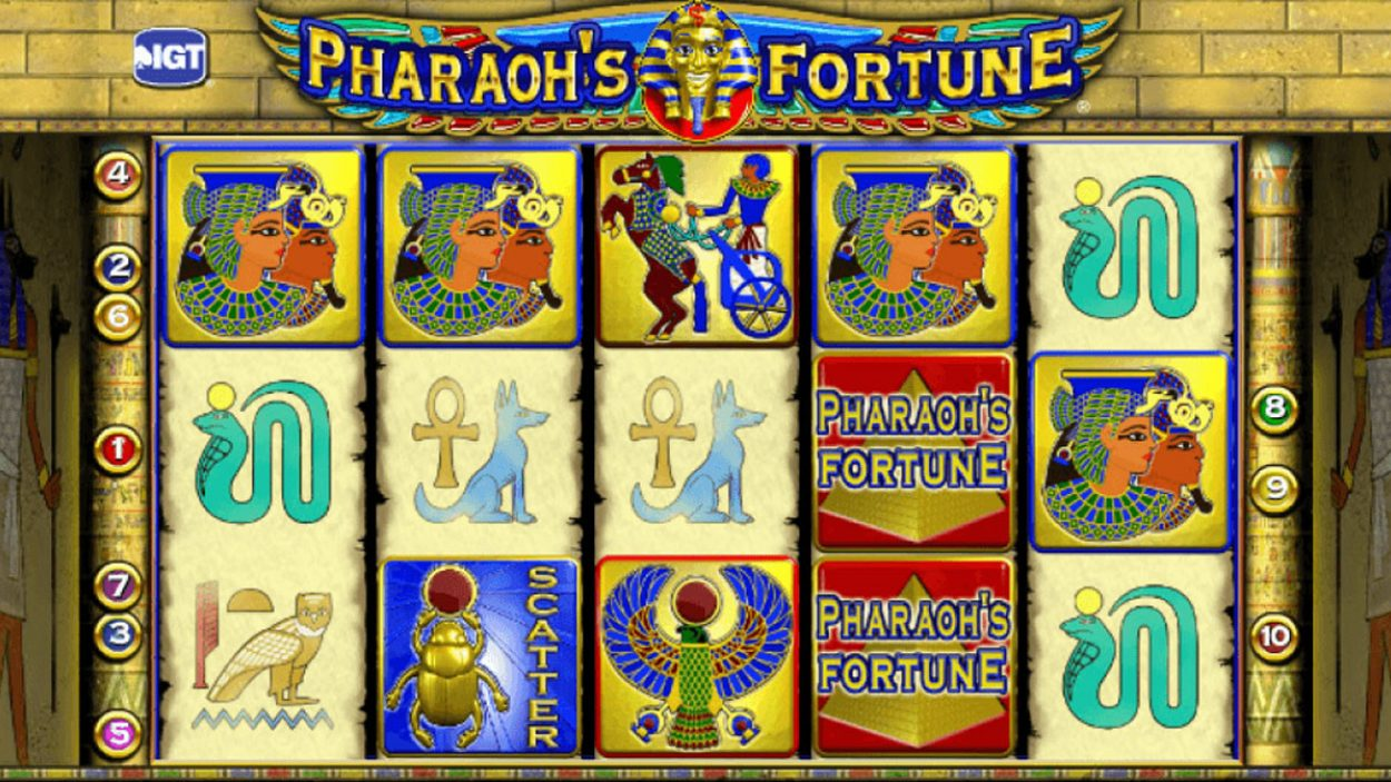Title screen for Pharaoh's Fortune slot game