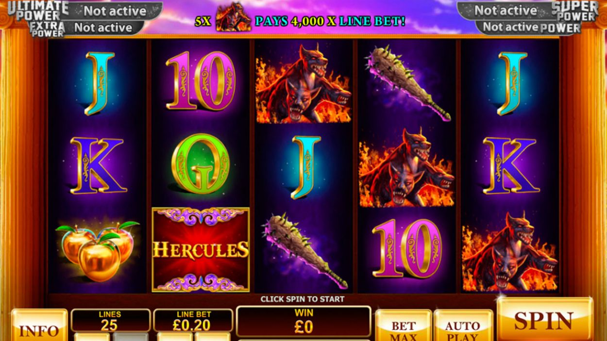 Title screen for Prince Of Olympus Slots Game