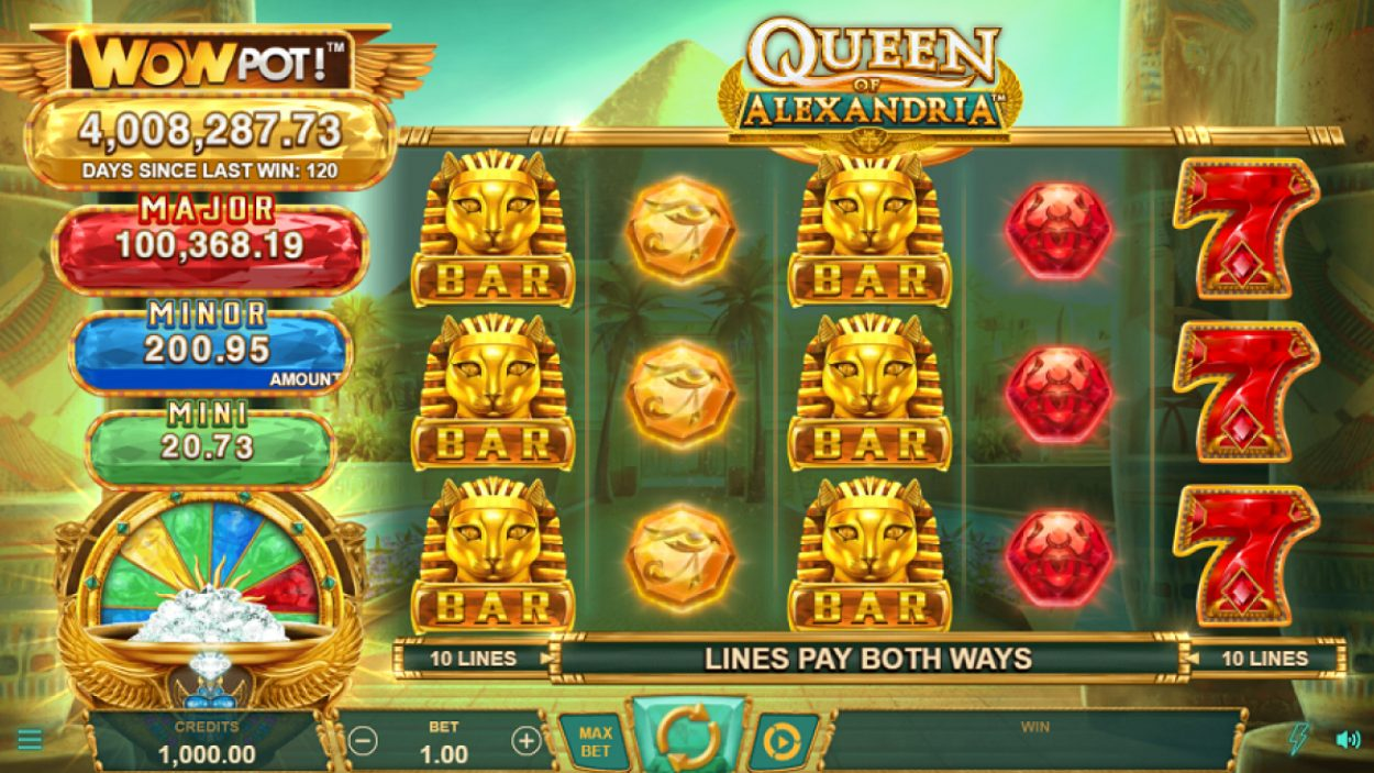 Title screen for Queen of Alexandria WOWPOT slot game