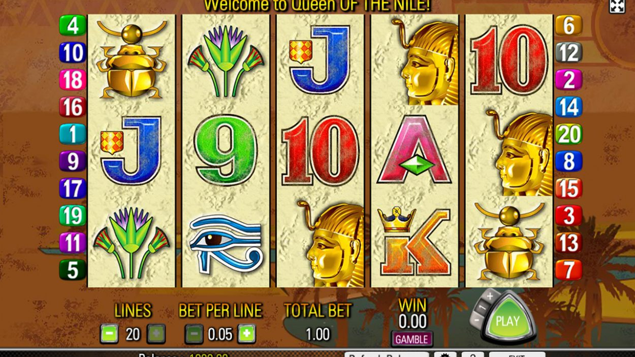 Title screen for Queen of the Nile slot game