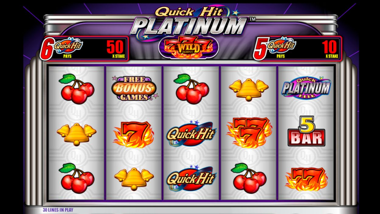 Title screen for Quick Hit Platinum slot game