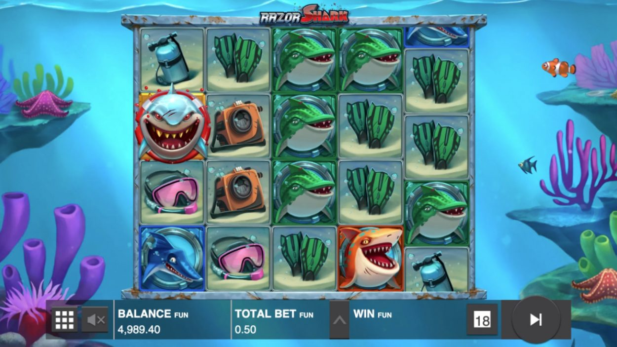 Title screen for Razor Shark slot game