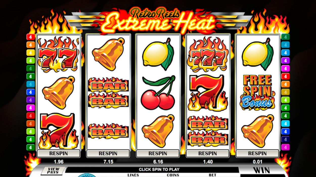 Title screen for Retro Reels Extreme Heat Slots Game