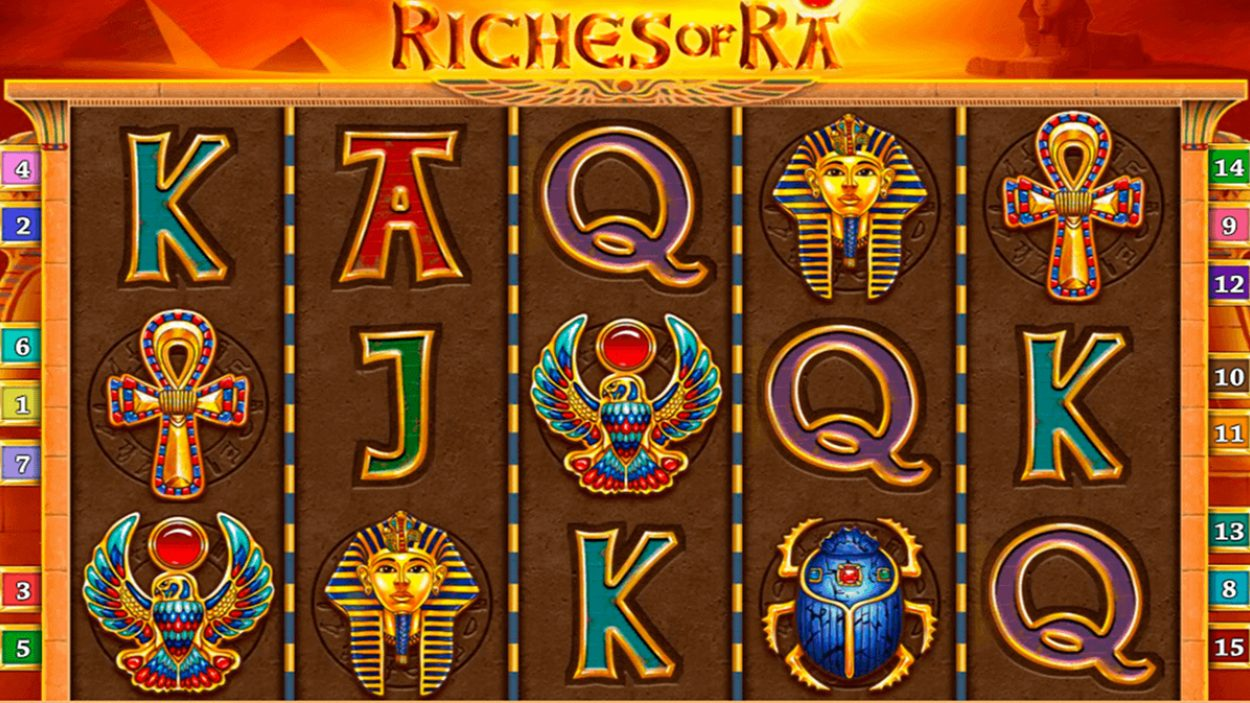 Title screen for Riches Of Ra Slots Game