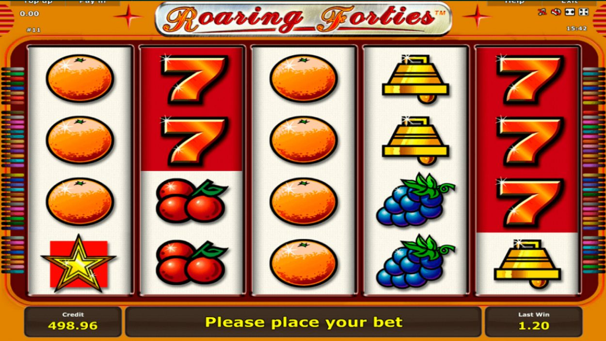 Title screen for Roaring Forties slot game