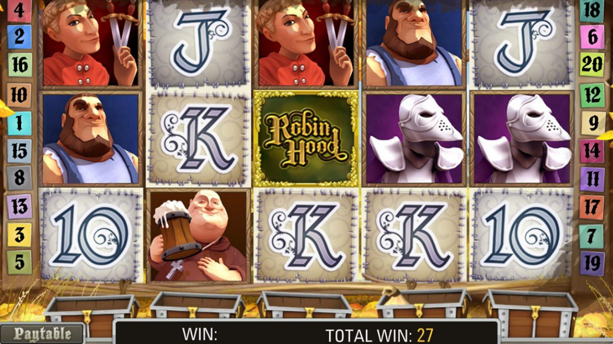 Title screen for Robin Hood Slots Game