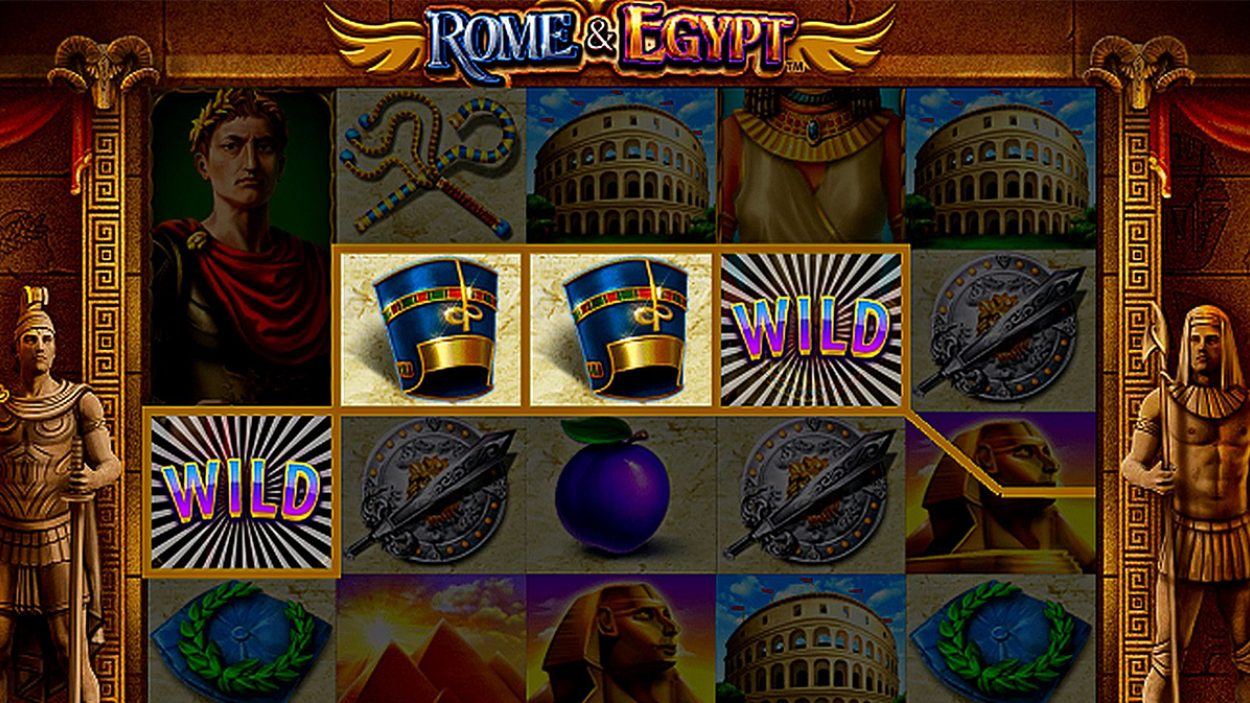 Title screen for Rome And Egypt Slots Game