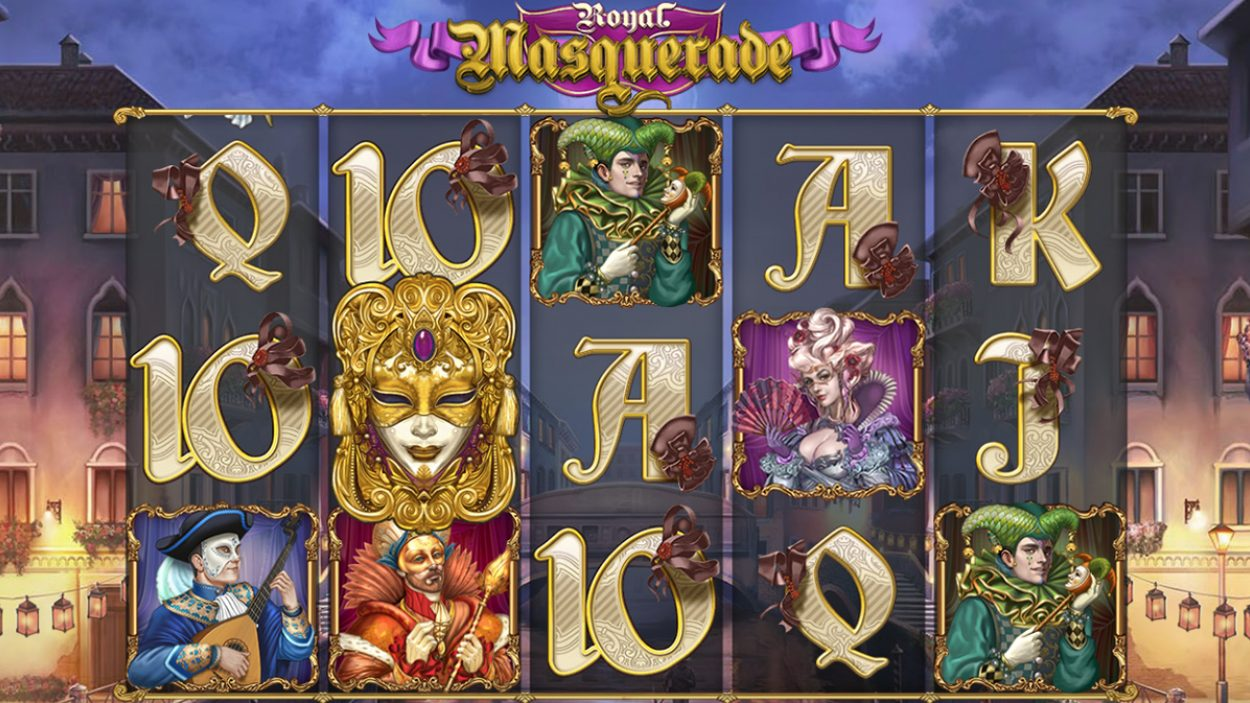 Title screen for Royal Masquerade Slots Game