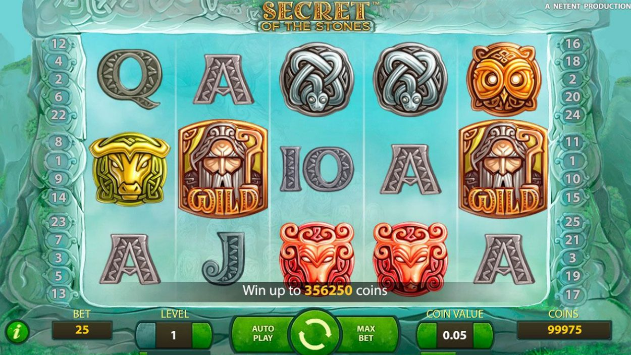 Title screen for Secrets Of The Stones Slots Game