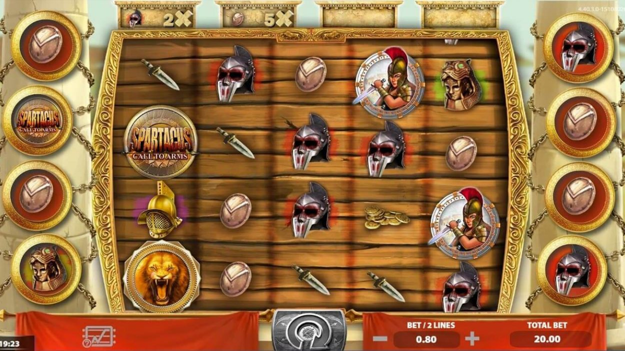 Title screen for Spartacus Call To Arms Slots Game