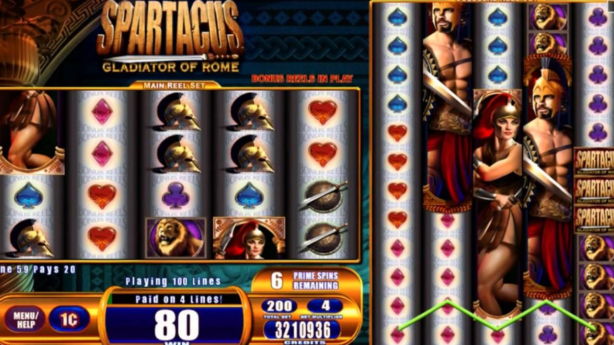 Title screen for Spartacus Slots Game