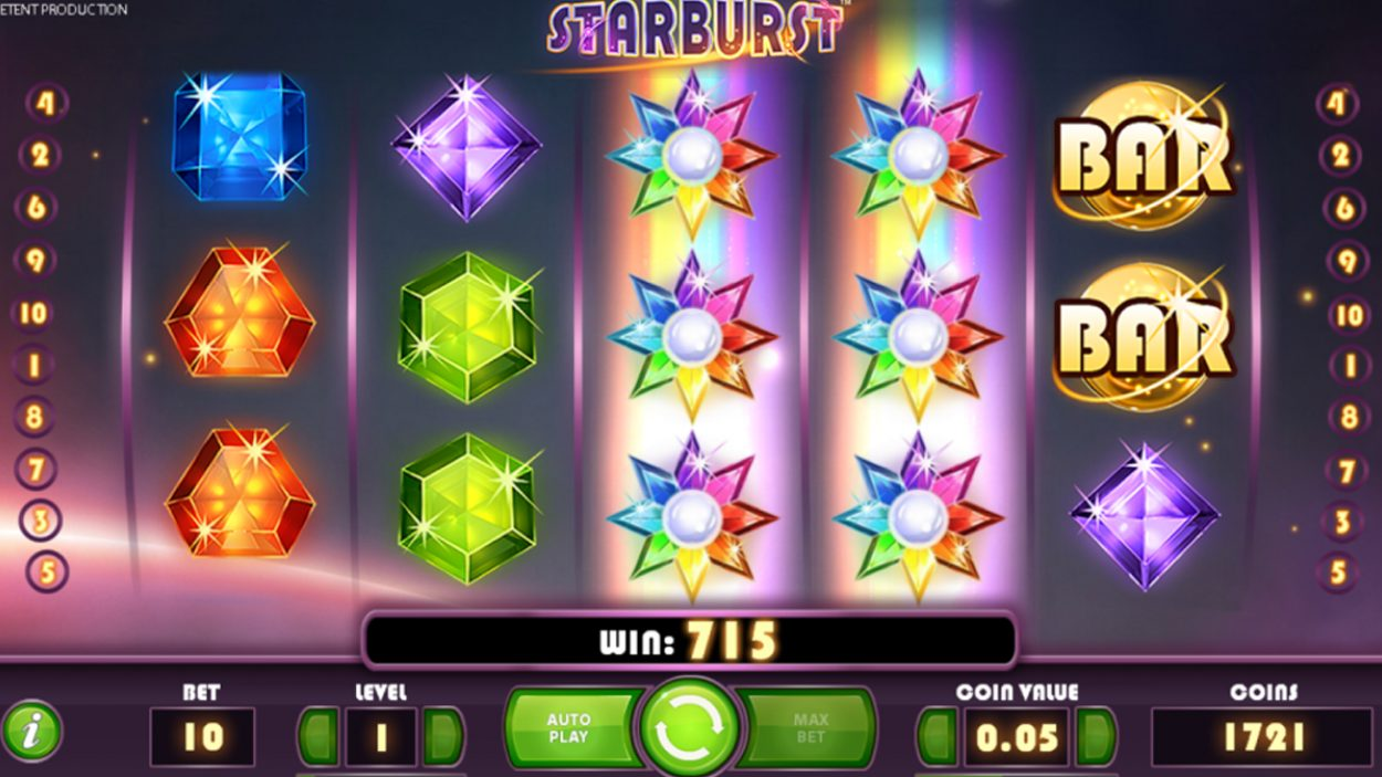 Title screen for Starburst Slots Game