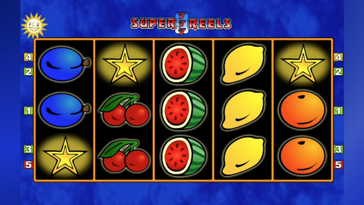 Title screen for Super 7 Reels slot game