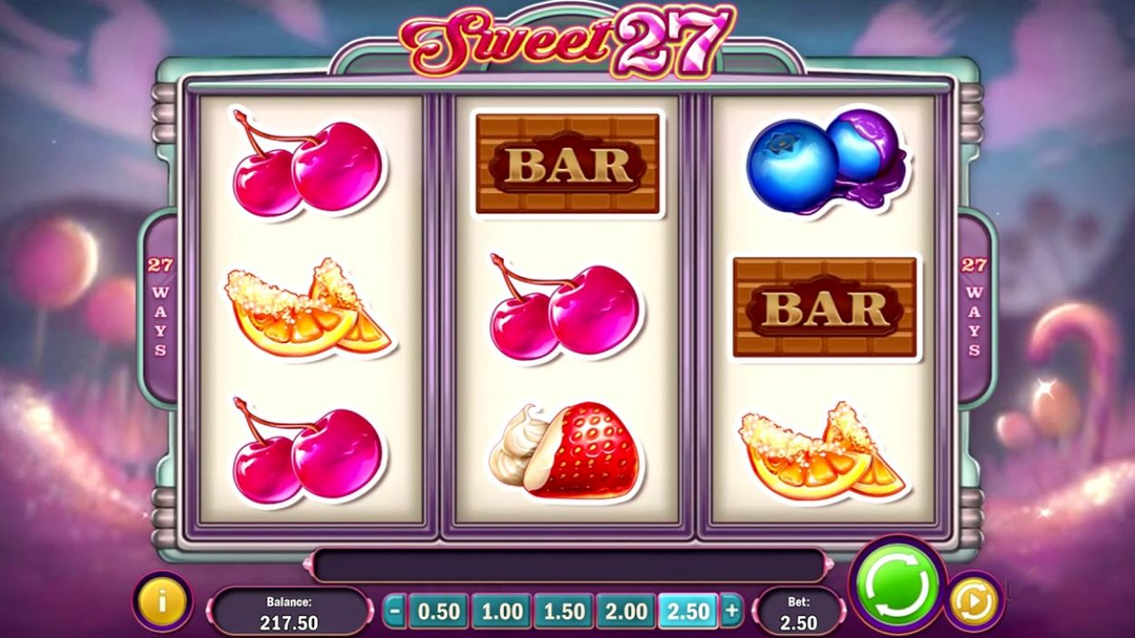 Title screen for Sweet 27 Slots Game