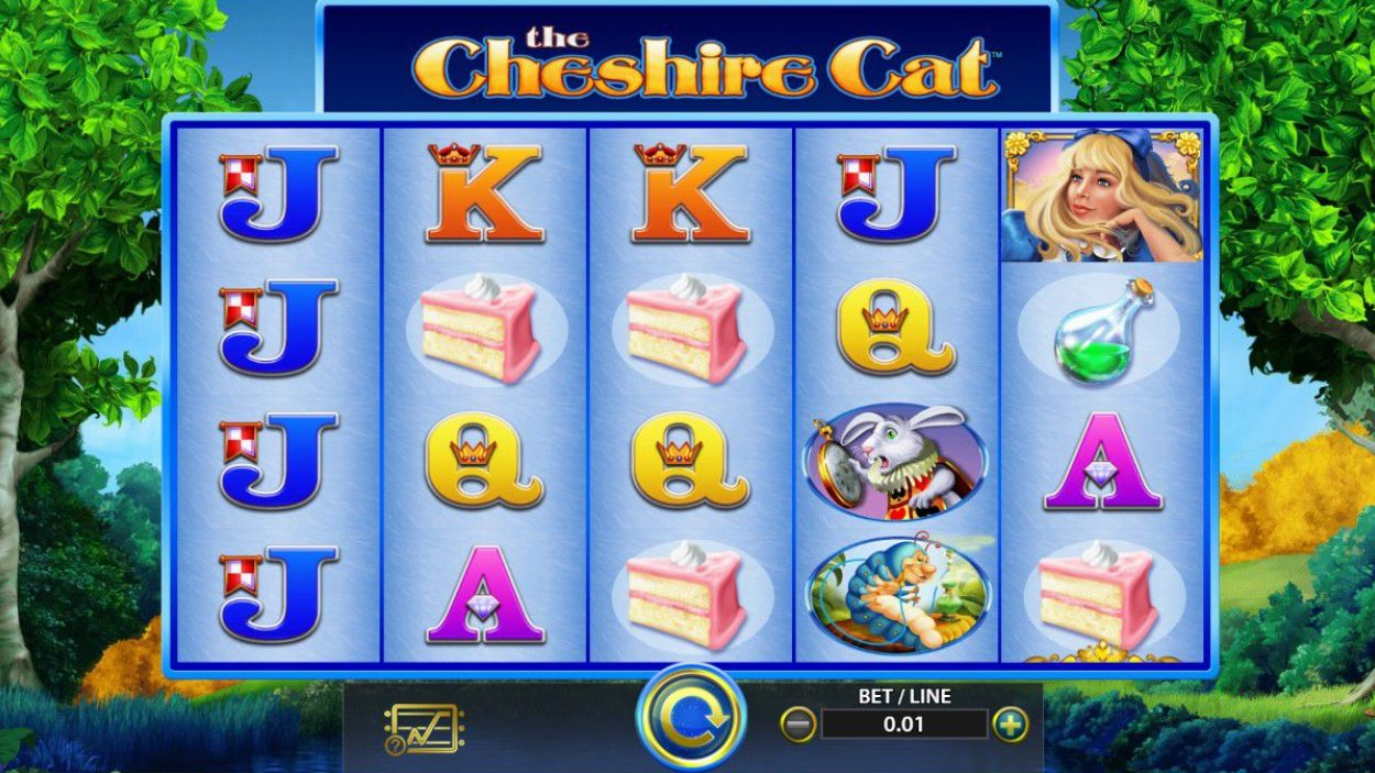 Title screen for The Cheshire Cat Slots Game