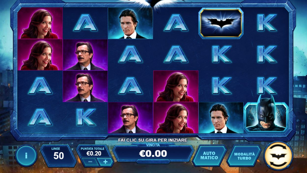 Title screen for The Dark Knight Slots Game