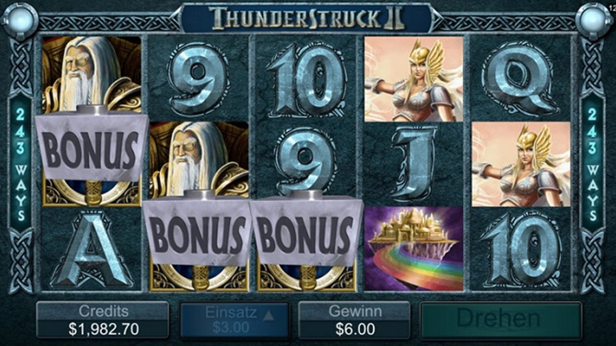 Title screen for Thunderstruck II Slots Game