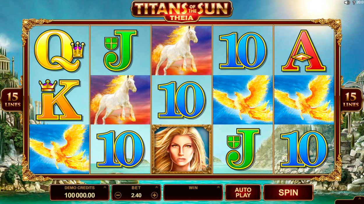 Title screen for Titans Of The Sun Theia Slots Game