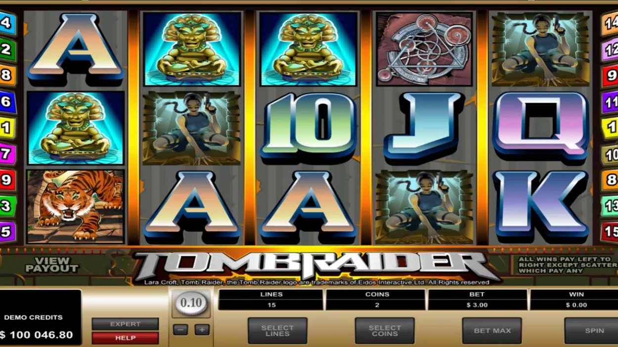 Title screen for Tomb Raider Slots Game