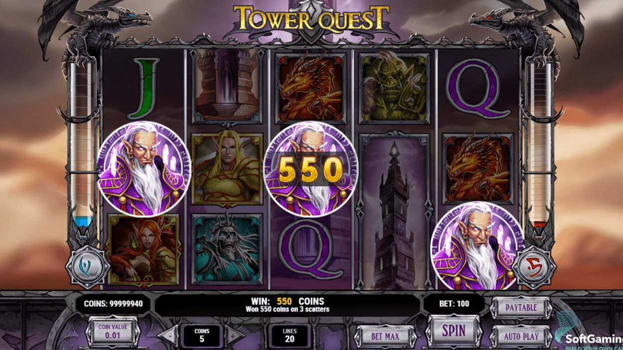 Title screen for Tower Quest Slots Game