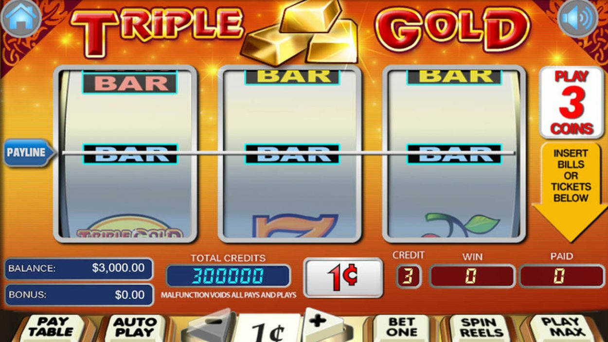 Title screen for Triple Gold Slots Game