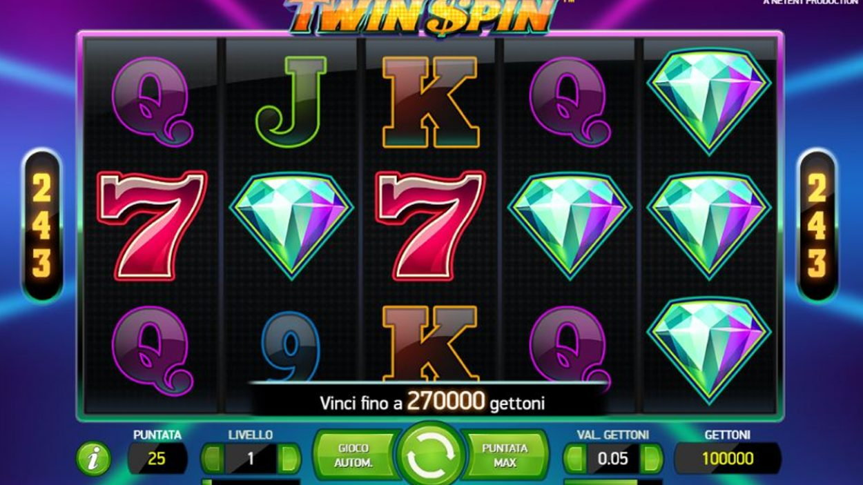 Title screen for Twin Spin Slots Game