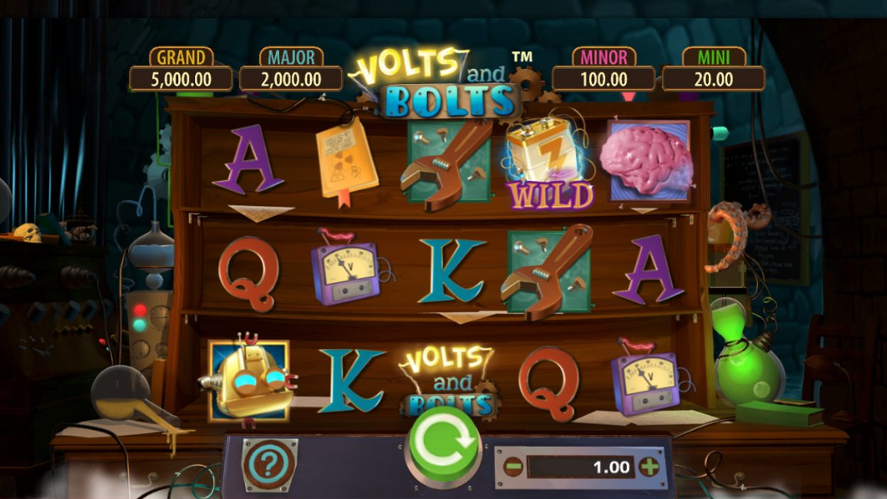 Title screen for Volts And Bolts slot game