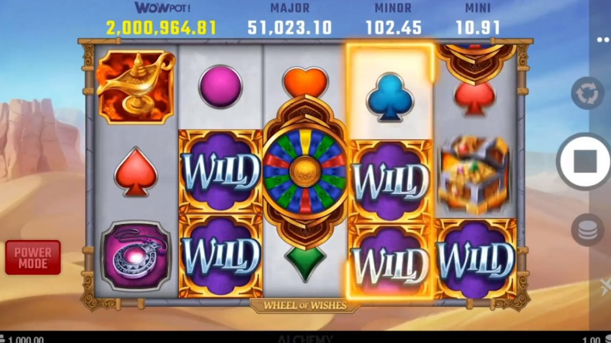 Title screen for Wheel Of Wishes Slots Game