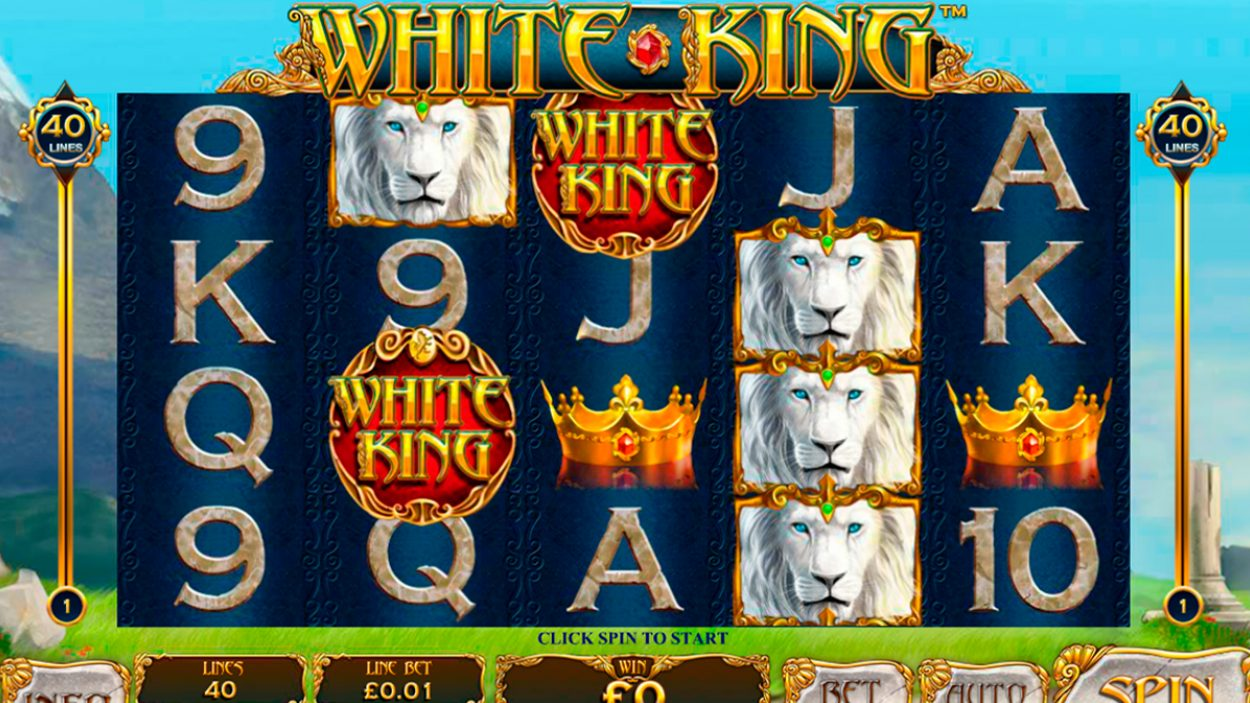 Title screen for White King Slots Game