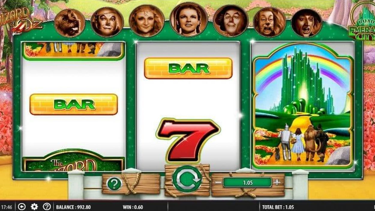 Title screen for Wizard Of Oz Road To Emerald City Slots Game