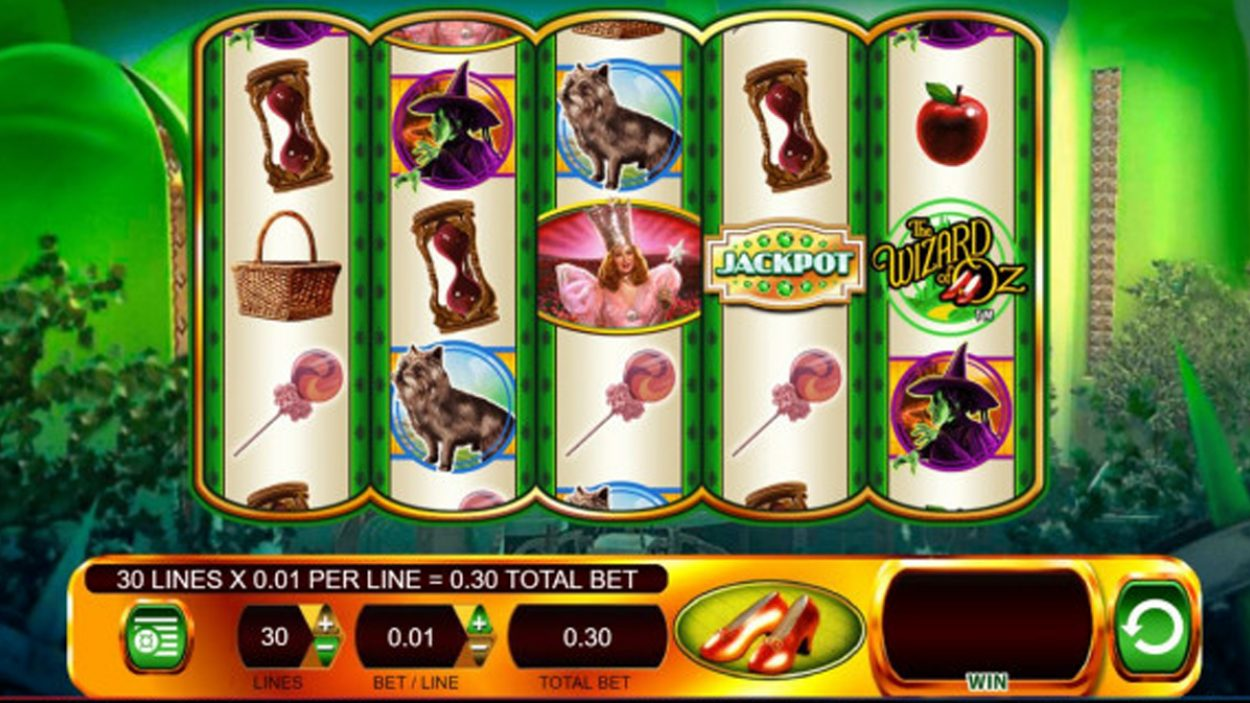 Title screen for Wizard Of Oz Ruby Slippers Slots Game