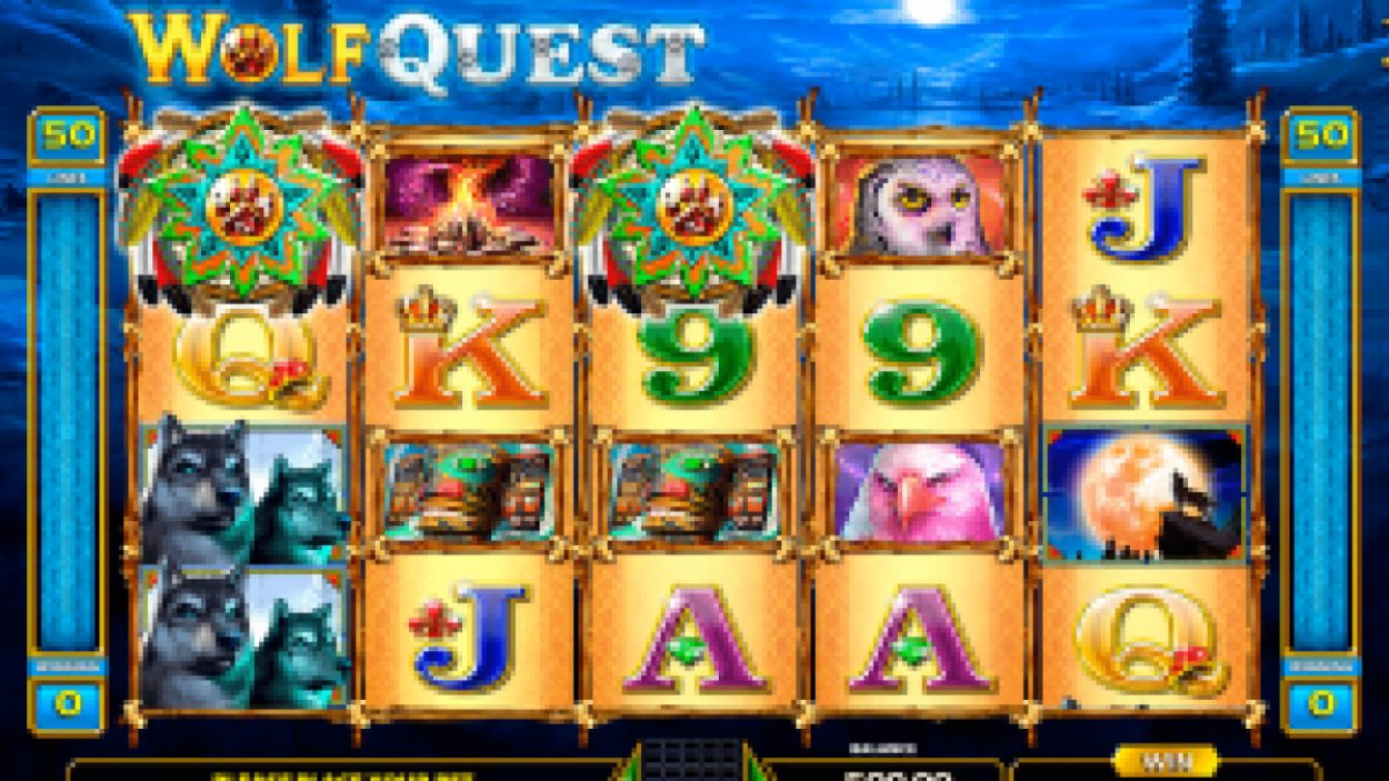 Title screen for Wolf Quest Slots Game