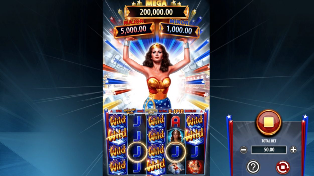 Title screen for Wonder Woman Bullets and Bracelets slot game