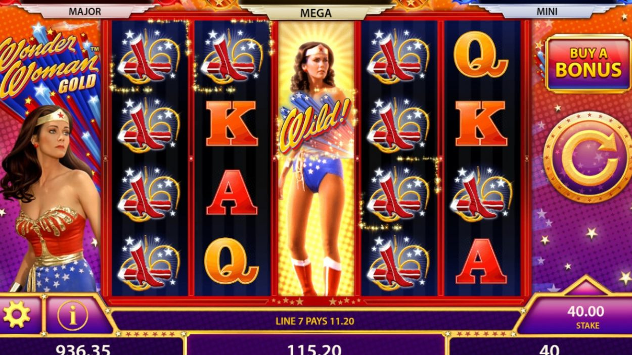 Title screen for Wonder Woman Slots Game