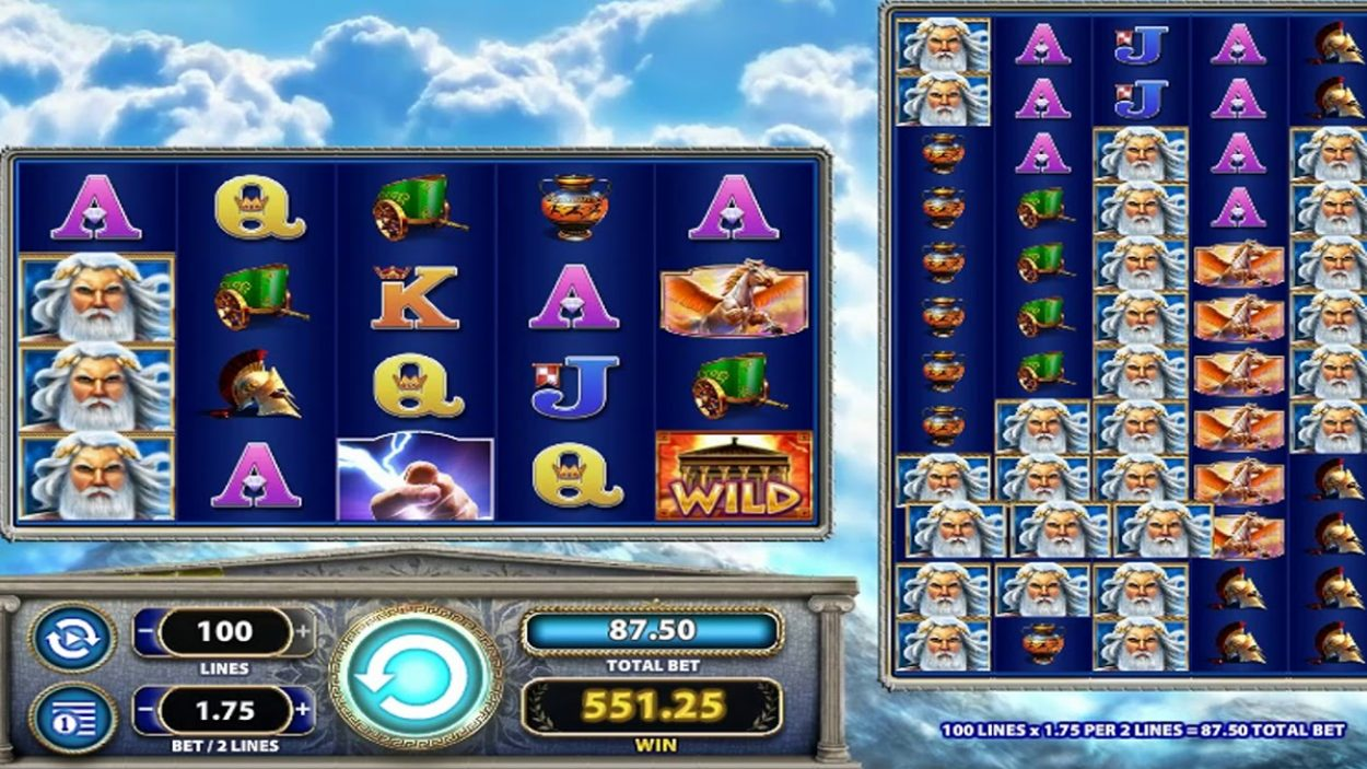 Title screen for Zeus 1000 Slots Game
