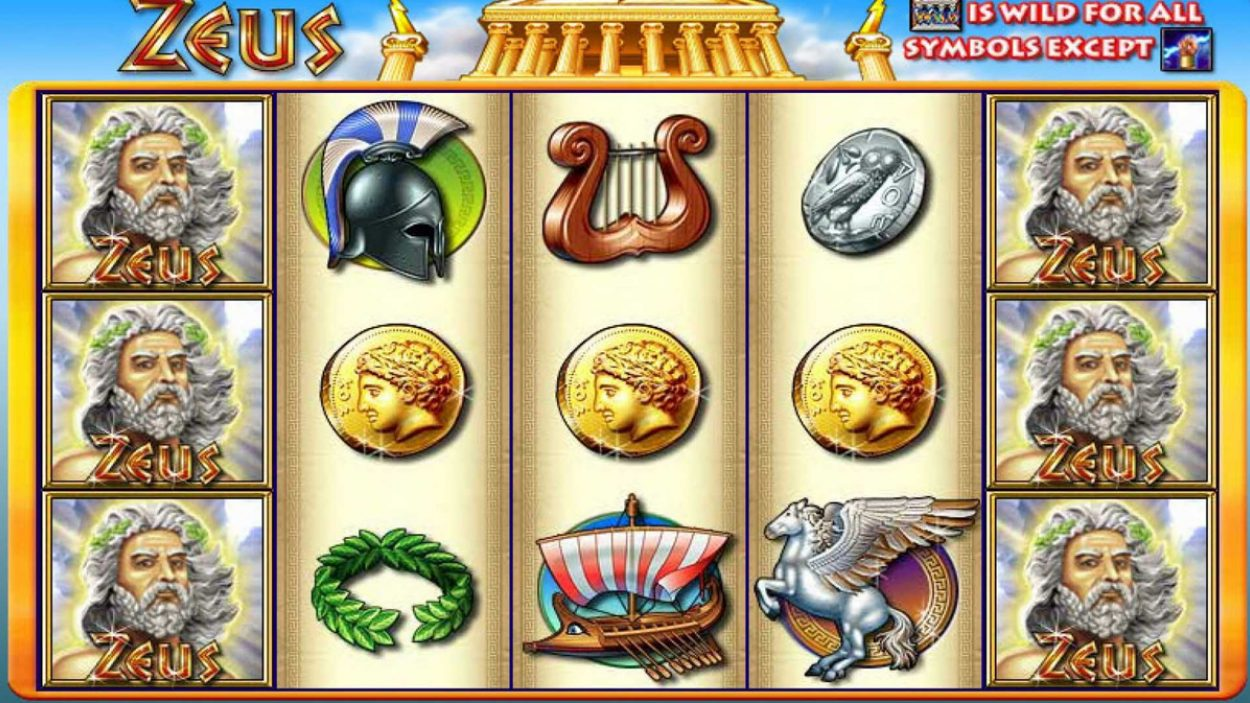 Title screen for Zeus Slots Game